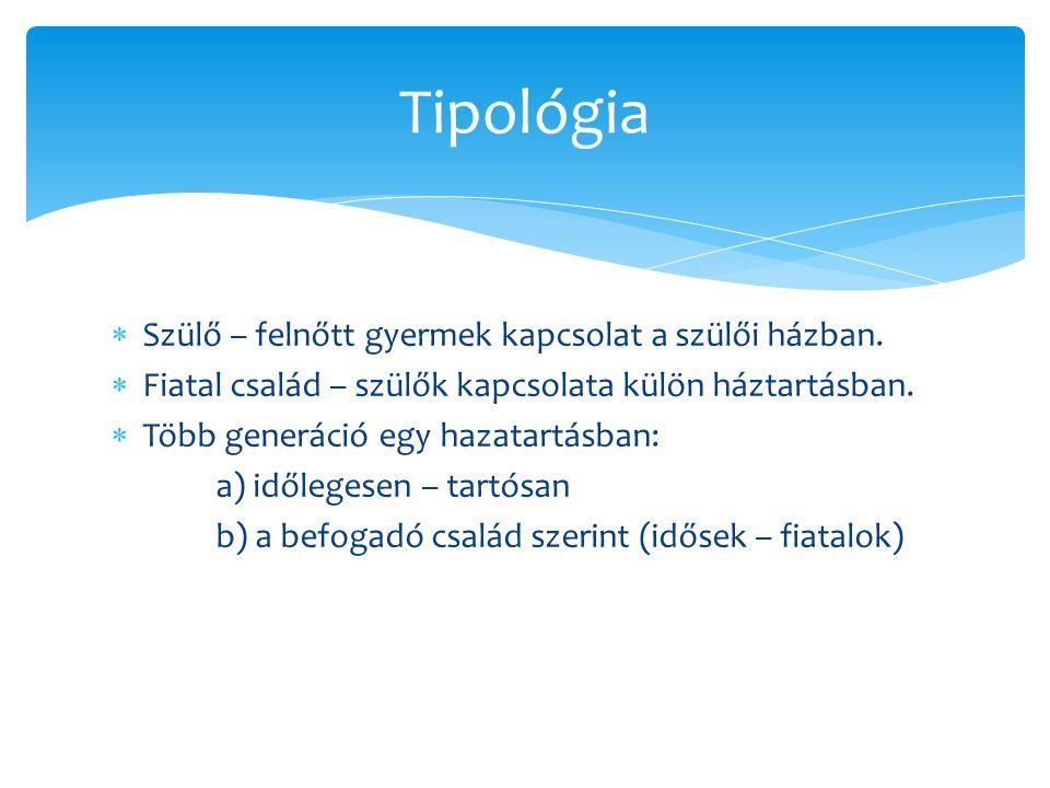 Tipológia Szülő – felnőtt gyermek kapcsolat a szülői házban.