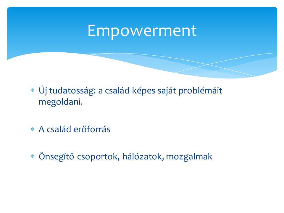 Empowerment Új tudatosság: a család képes saját problémáit megoldani.