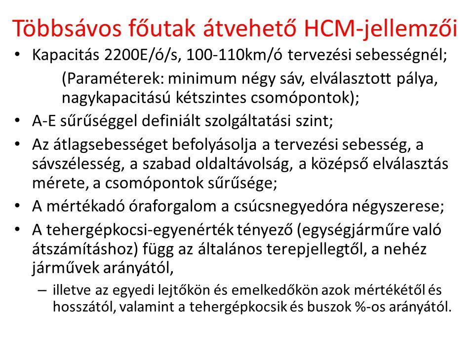 Többsávos főutak átvehető HCM-jellemzői