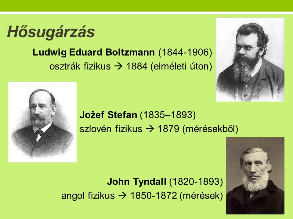 Hősugárzás Ludwig Eduard Boltzmann (1844-1906) osztrák fizikus  1884 (elméleti úton) Jožef Stefan (1835–1893)