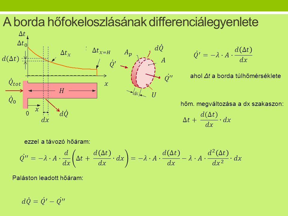 A borda hőfokeloszlásának differenciálegyenlete