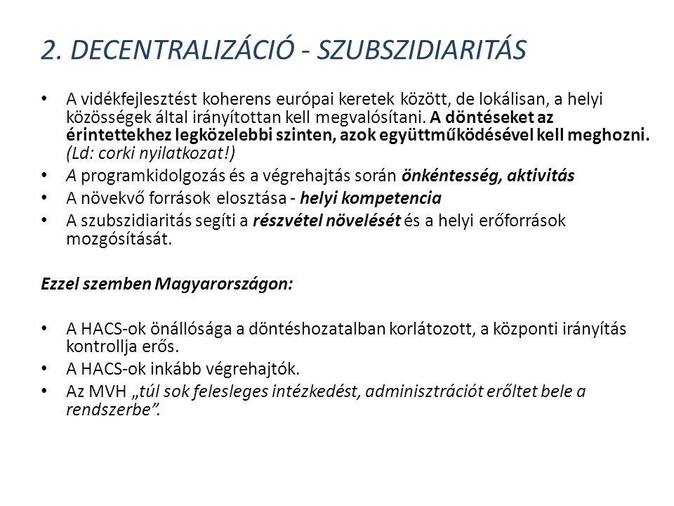 2. Decentralizáció - szubszidiaritás