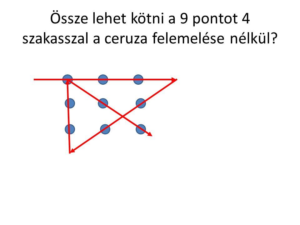Össze lehet kötni a 9 pontot 4 szakasszal a ceruza felemelése nélkül