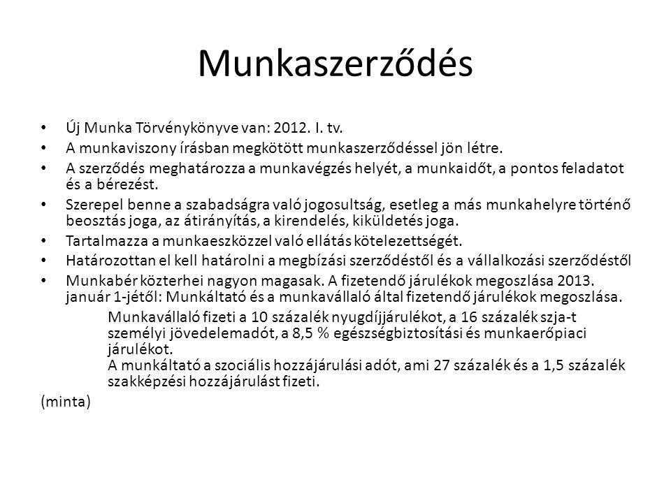 Munkaszerződés Új Munka Törvénykönyve van: 2012. I. tv.