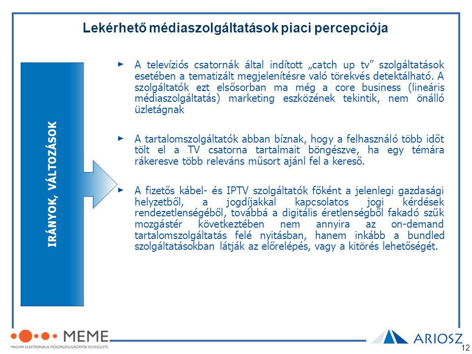Lekérhető médiaszolgáltatások piaci percepciója