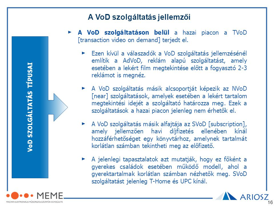 A VoD szolgáltatás jellemzői