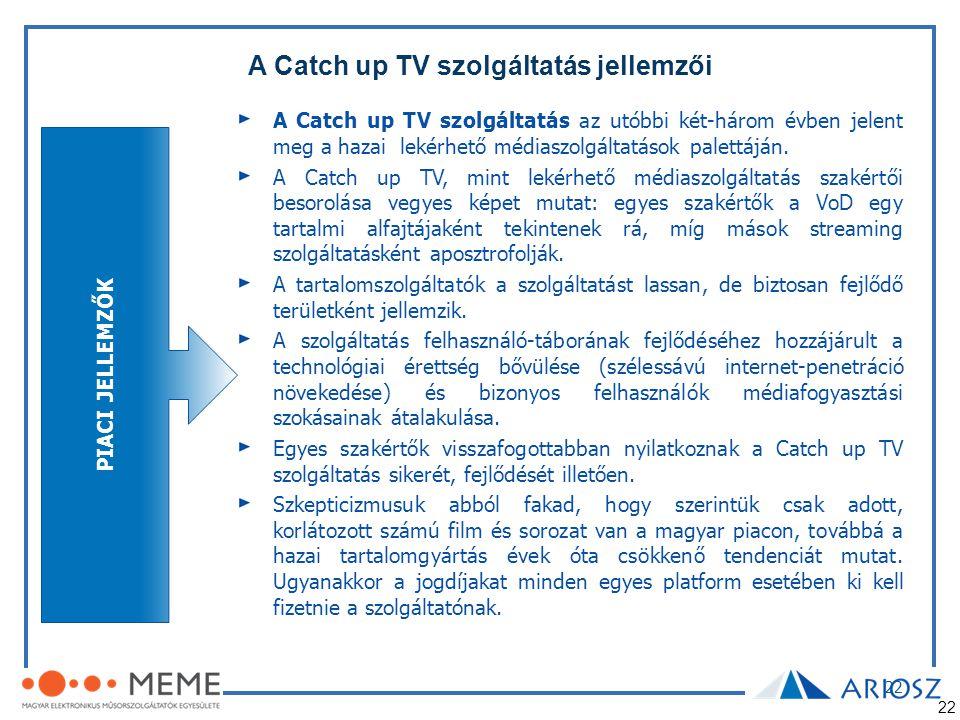 A Catch up TV szolgáltatás jellemzői