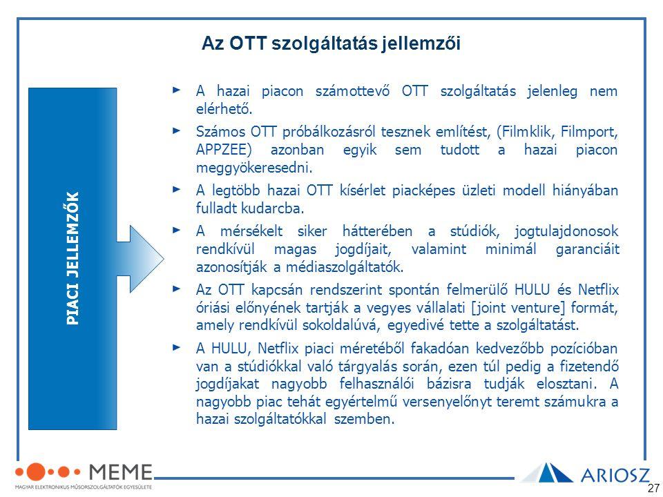 Az OTT szolgáltatás jellemzői