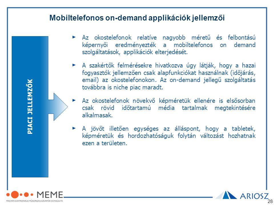Mobiltelefonos on-demand applikációk jellemzői