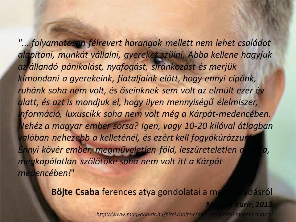 Böjte Csaba ferences atya gondolatai a megmaradásról