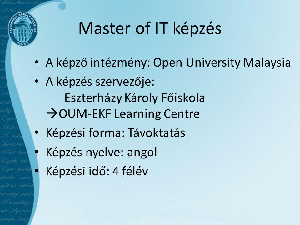 Master of IT képzés A képző intézmény: Open University Malaysia