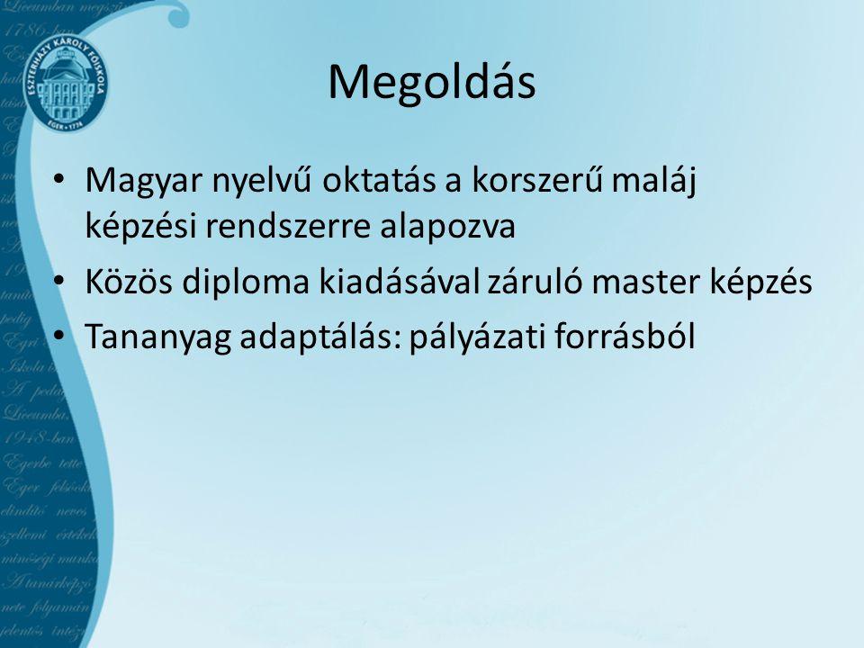 Megoldás Magyar nyelvű oktatás a korszerű maláj képzési rendszerre alapozva. Közös diploma kiadásával záruló master képzés.