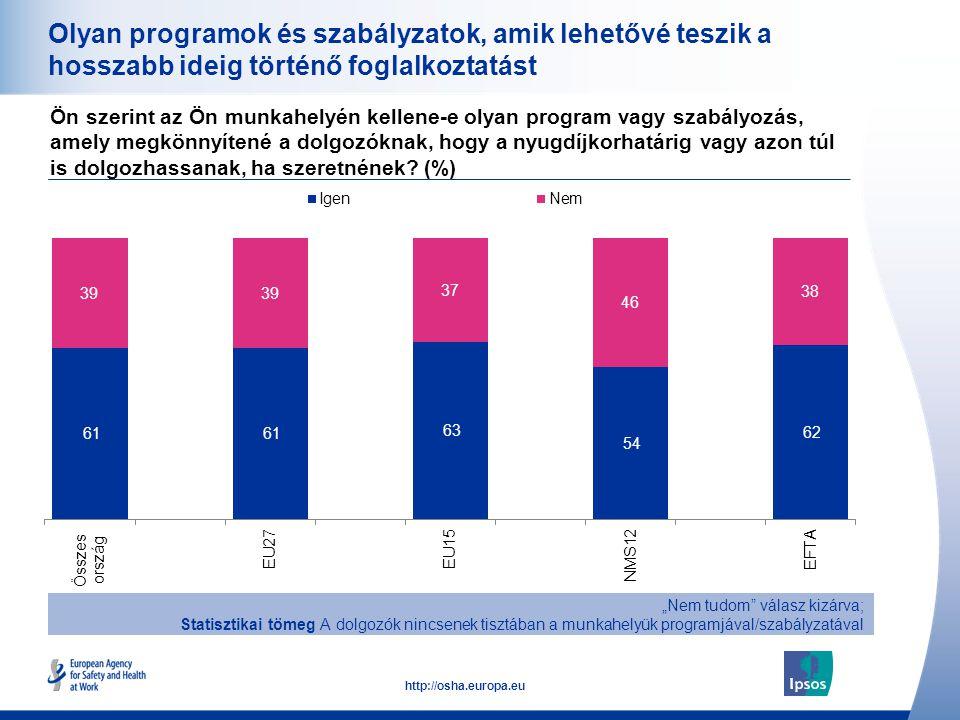 Olyan programok és szabályzatok, amik lehetővé teszik a hosszabb ideig történő foglalkoztatást