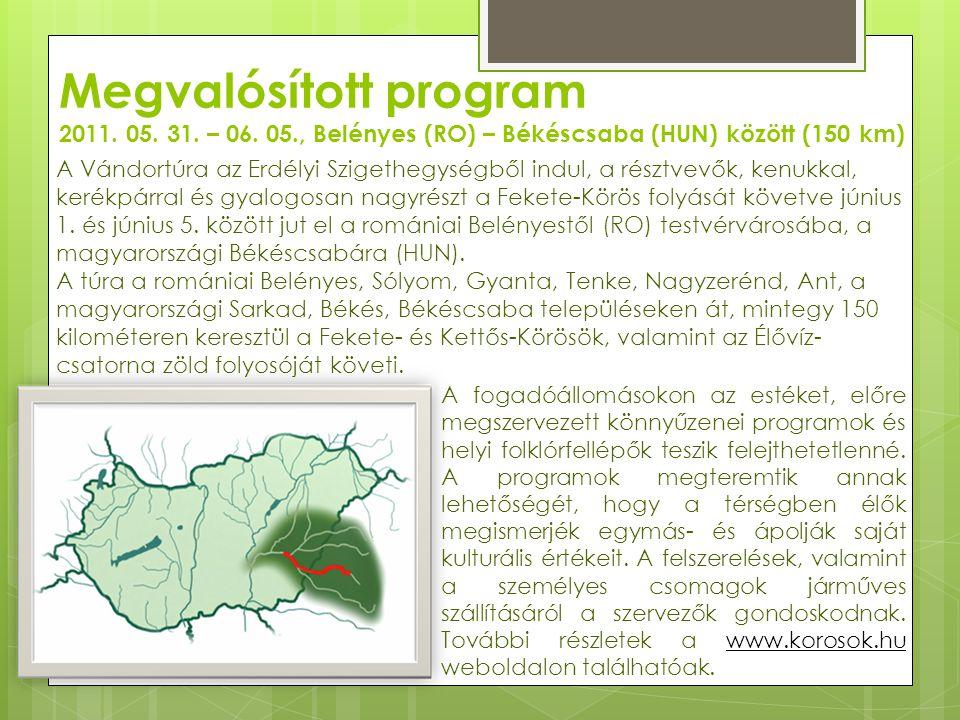 Megvalósított program 2011. 05. 31. – 06. 05