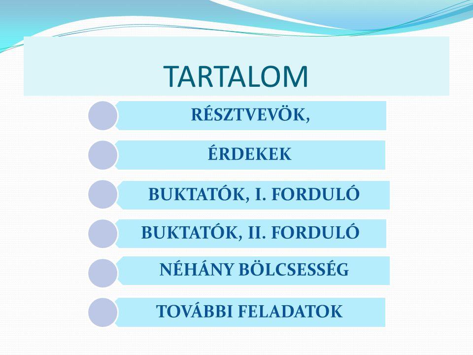 TARTALOM RÉSZTVEVÖK, ÉRDEKEK BUKTATÓK, I. FORDULÓ