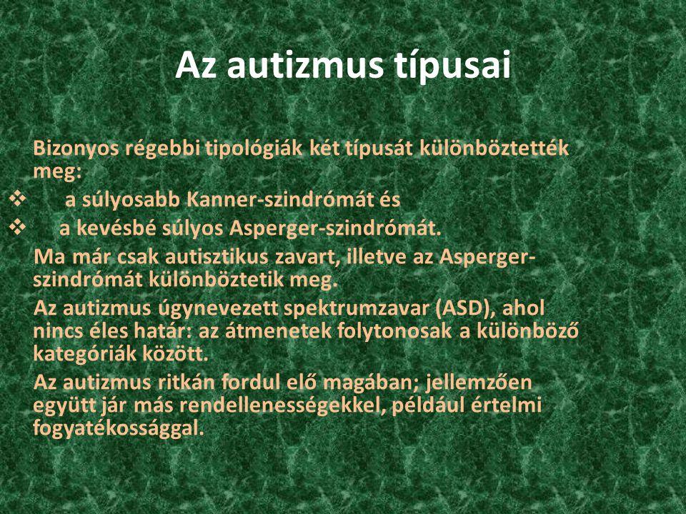 Az autizmus típusai Bizonyos régebbi tipológiák két típusát különböztették meg: a súlyosabb Kanner-szindrómát és.
