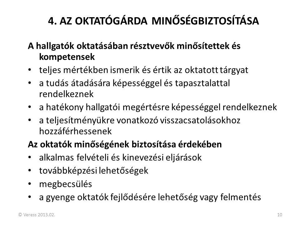 4. AZ OKTATÓGÁRDA MINŐSÉGBIZTOSÍTÁSA