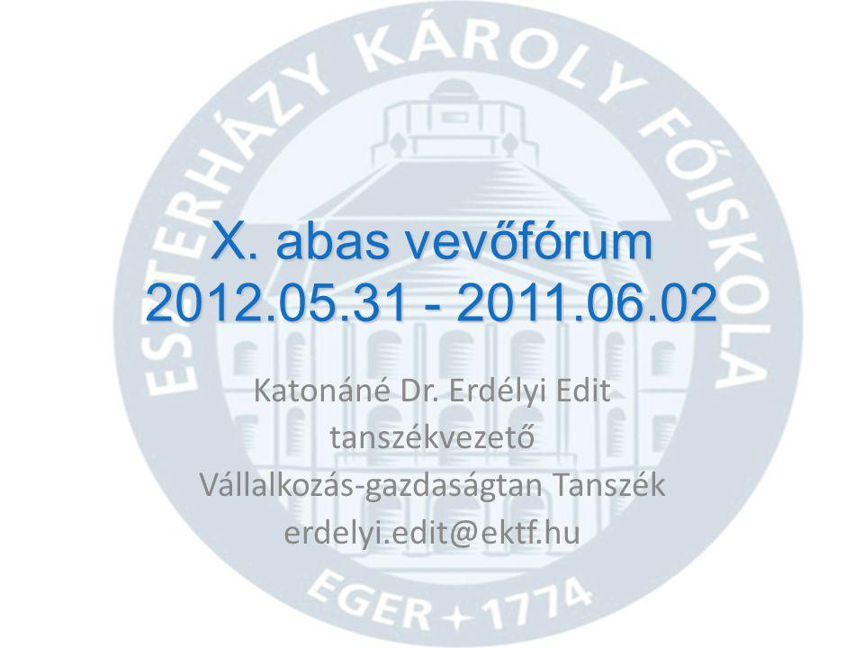 X. abas vevőfórum 2012.05.31 - 2011.06.02 Katonáné Dr. Erdélyi Edit
