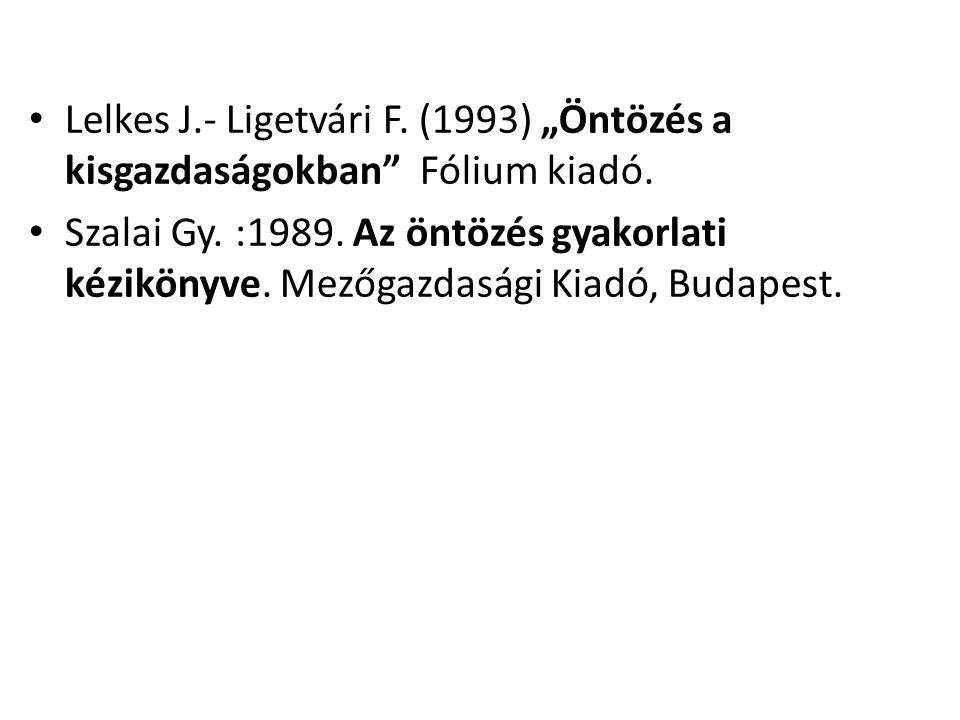 """Lelkes J.- Ligetvári F. (1993) """"Öntözés a kisgazdaságokban Fólium kiadó."""