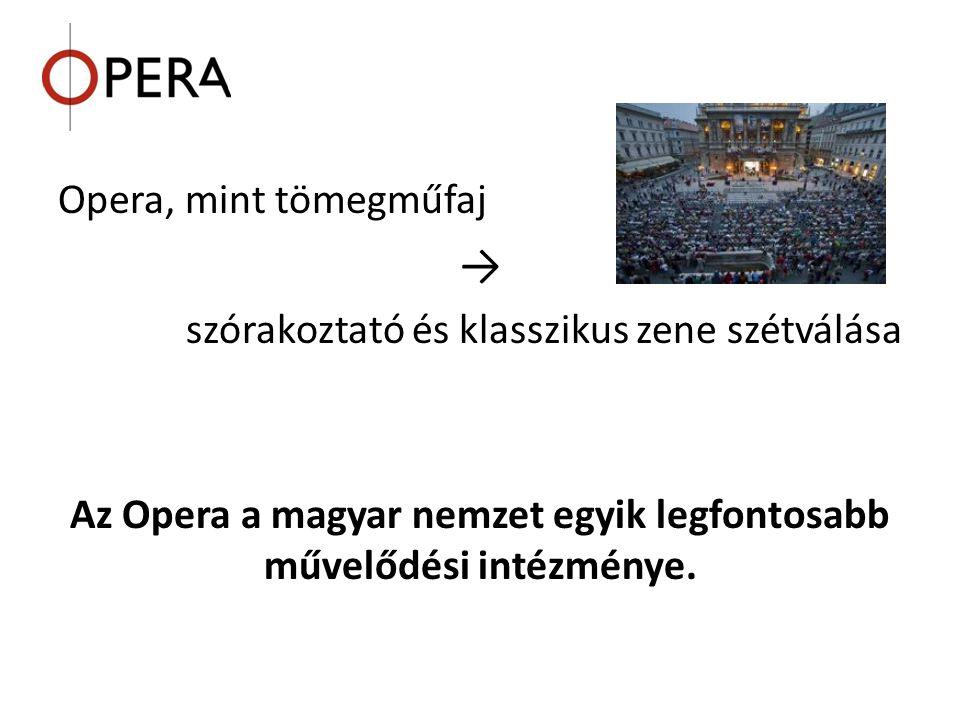 Az Opera a magyar nemzet egyik legfontosabb művelődési intézménye.