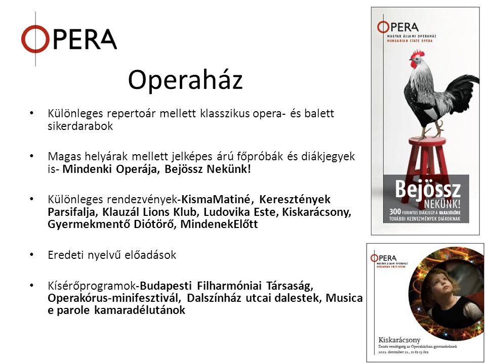 Operaház Különleges repertoár mellett klasszikus opera- és balett sikerdarabok.
