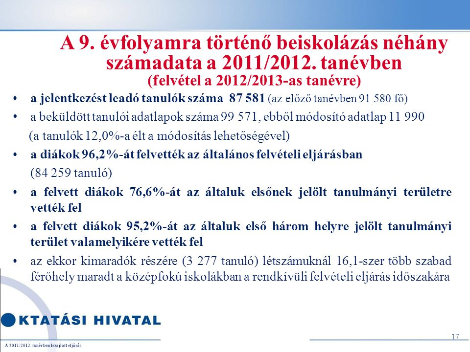 A 9. évfolyamra történő beiskolázás néhány számadata a 2011/2012