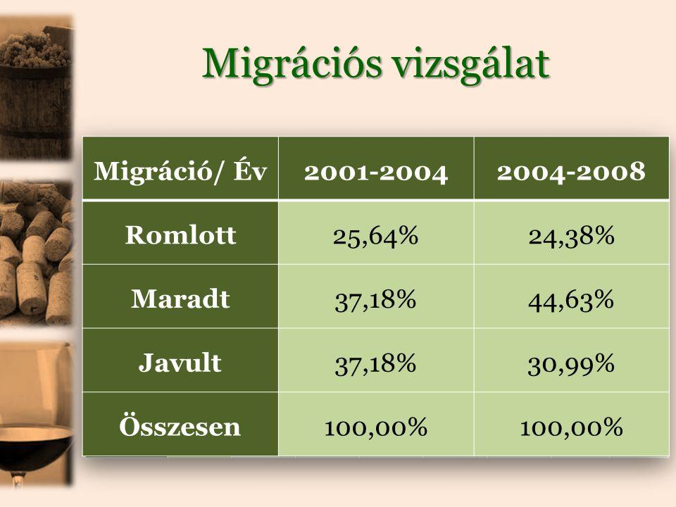 Migrációs vizsgálat Migráció/ Év 2001-2004 2004-2008 Romlott 25,64%