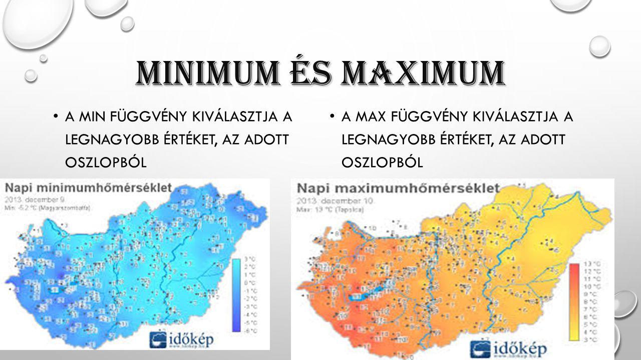 MINIMuM ÉS MAXIMuM A MIN függvény kiválasztja a legnagyobb értéket, az adott oszlopból.