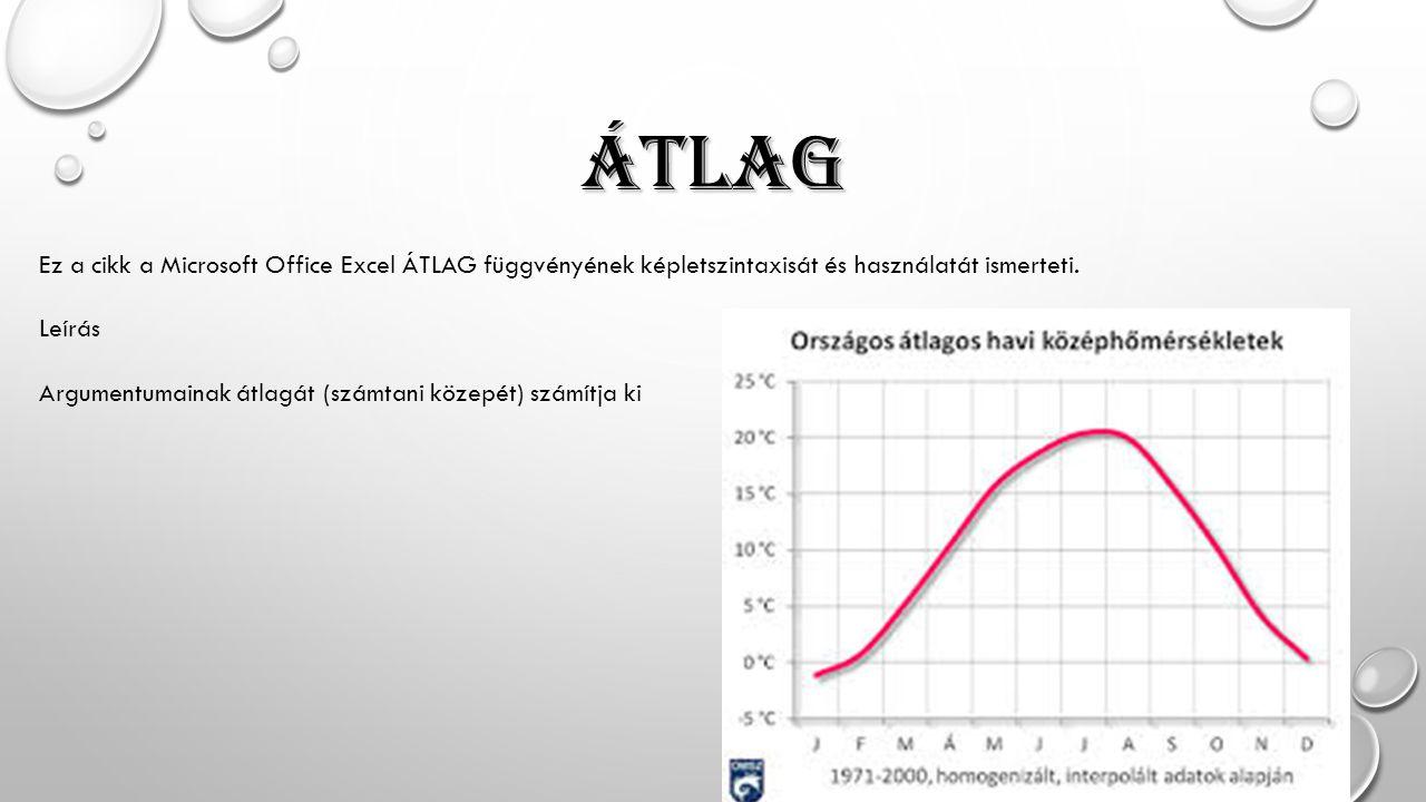 ÁTLAG Ez a cikk a Microsoft Office Excel ÁTLAG függvényének képletszintaxisát és használatát ismerteti.