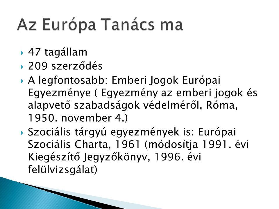 Az Európa Tanács ma 47 tagállam 209 szerződés