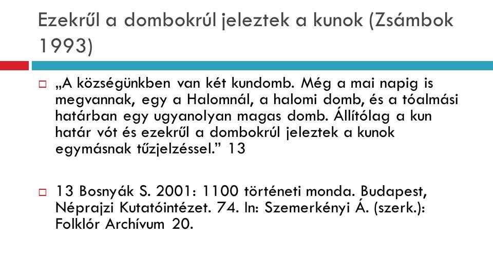 Ezekrűl a dombokrúl jeleztek a kunok (Zsámbok 1993)