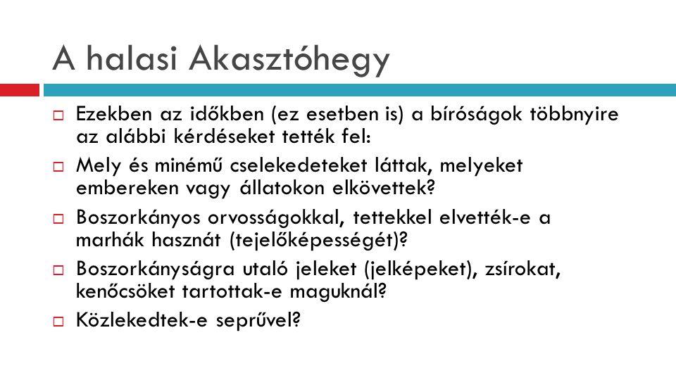 A halasi Akasztóhegy Ezekben az időkben (ez esetben is) a bíróságok többnyire az alábbi kérdéseket tették fel:
