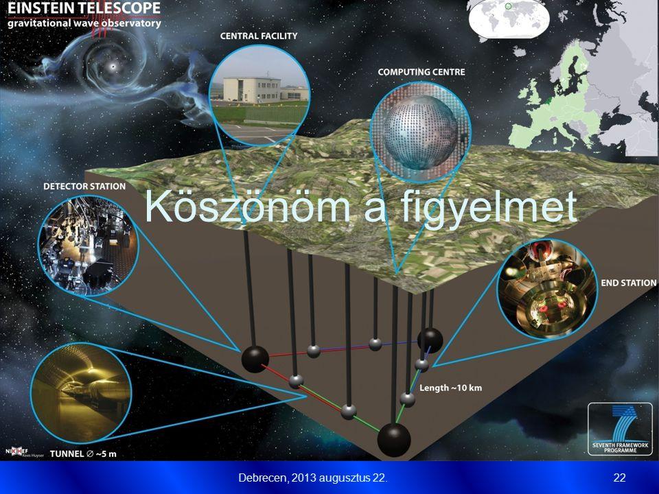 Köszönöm a figyelmet Debrecen, 2013 augusztus 22.