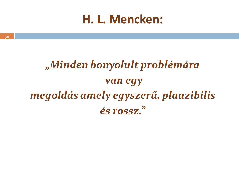 """""""Minden bonyolult problémára megoldás amely egyszerű, plauzibilis"""