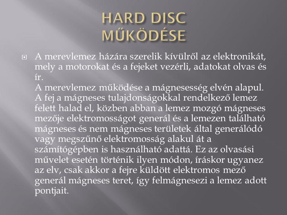 HARD DISC MŰKÖDÉSE