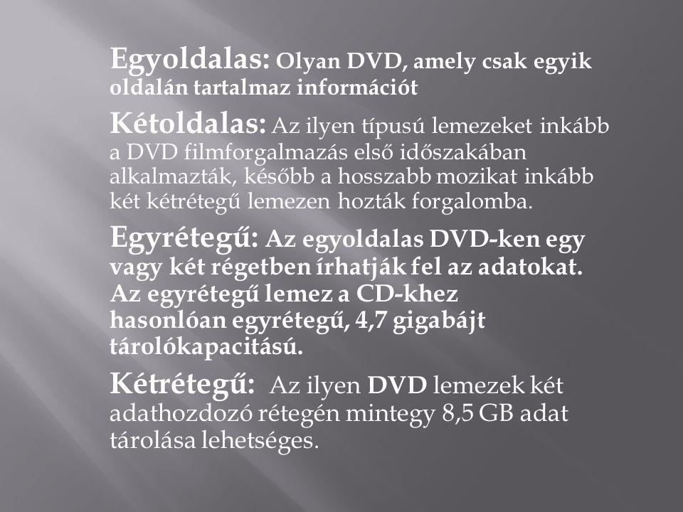 Egyoldalas: Olyan DVD, amely csak egyik oldalán tartalmaz információt