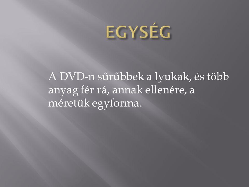 EGYSÉG A DVD-n sűrűbbek a lyukak, és több anyag fér rá, annak ellenére, a méretük egyforma.