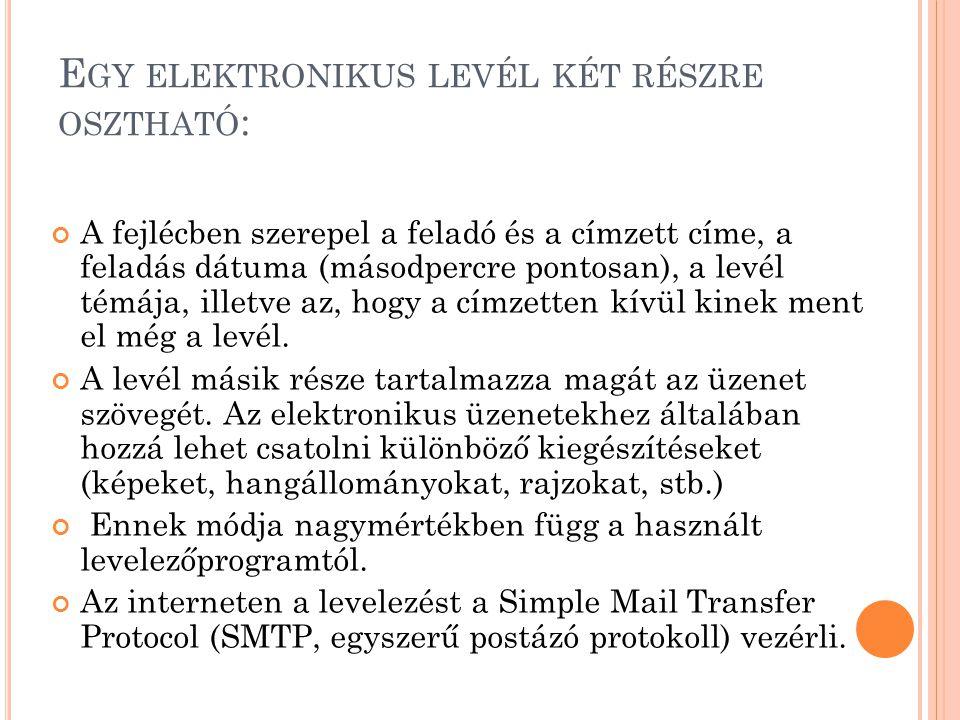 Egy elektronikus levél két részre osztható: