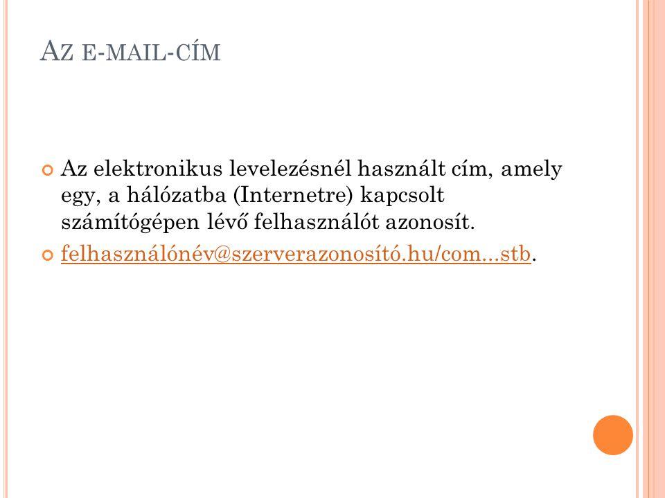 Az e-mail-cím Az elektronikus levelezésnél használt cím, amely egy, a hálózatba (Internetre) kapcsolt számítógépen lévő felhasználót azonosít.