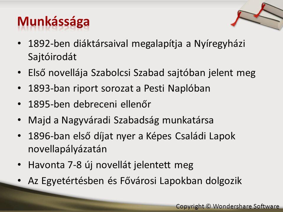 Munkássága 1892-ben diáktársaival megalapítja a Nyíregyházi Sajtóirodát. Első novellája Szabolcsi Szabad sajtóban jelent meg.