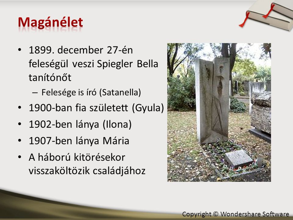 Magánélet 1899. december 27-én feleségül veszi Spiegler Bella tanítónőt. Felesége is író (Satanella)