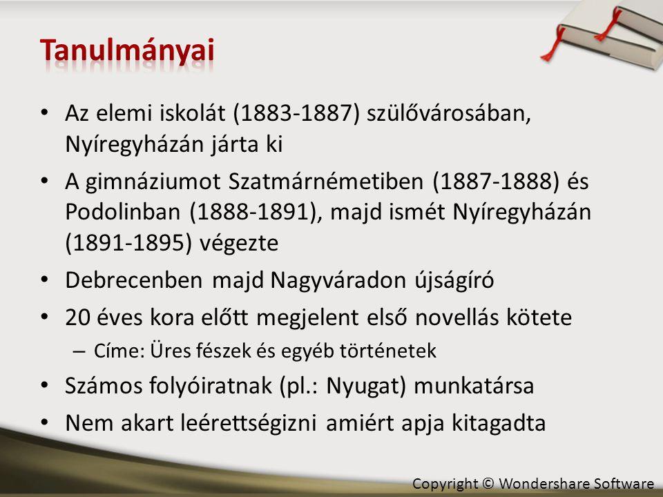 Tanulmányai Az elemi iskolát (1883-1887) szülővárosában, Nyíregyházán járta ki.