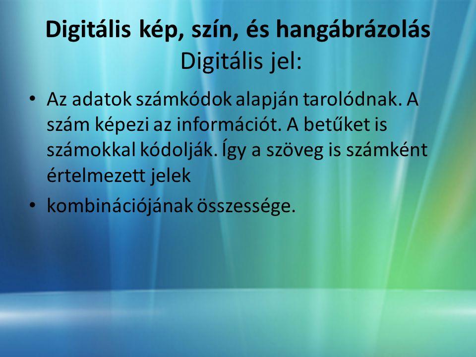 Digitális kép, szín, és hangábrázolás Digitális jel: