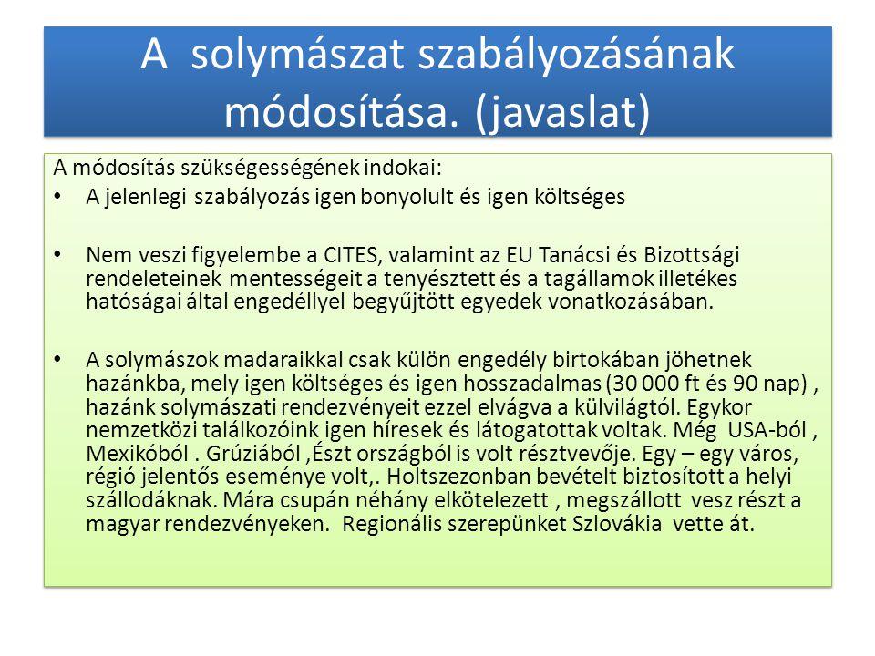 A solymászat szabályozásának módosítása. (javaslat)
