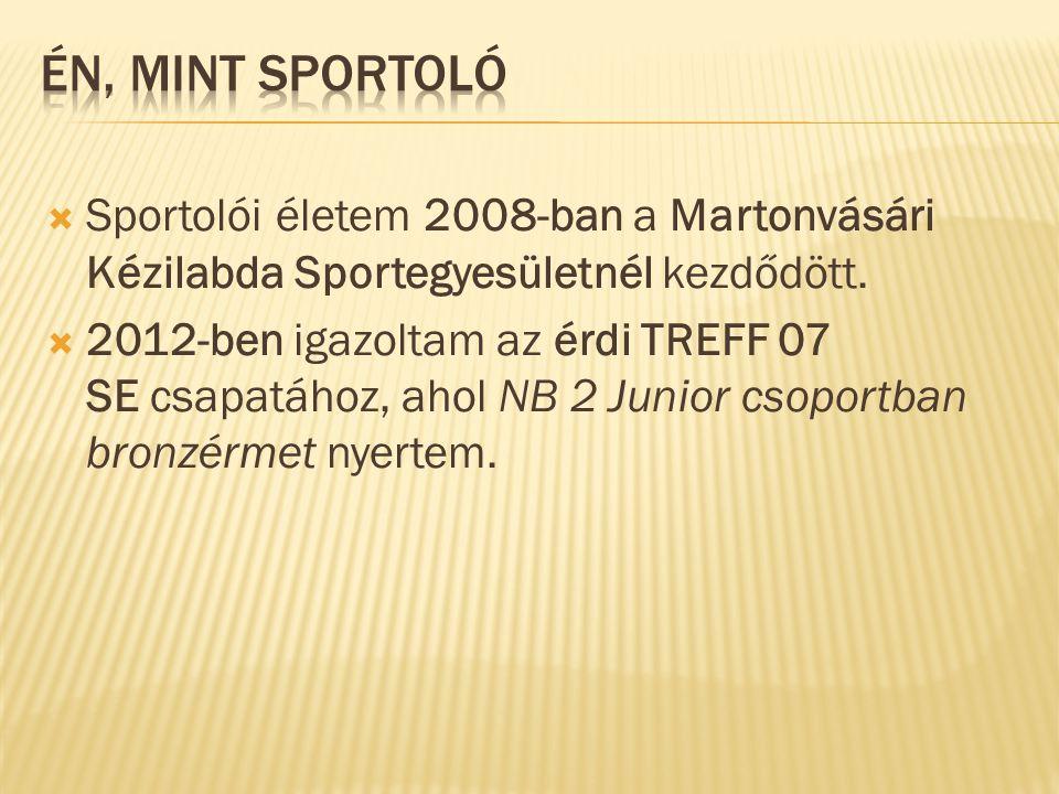 ÉN, MINT SPORTOLÓ Sportolói életem 2008-ban a Martonvásári Kézilabda Sportegyesületnél kezdődött.