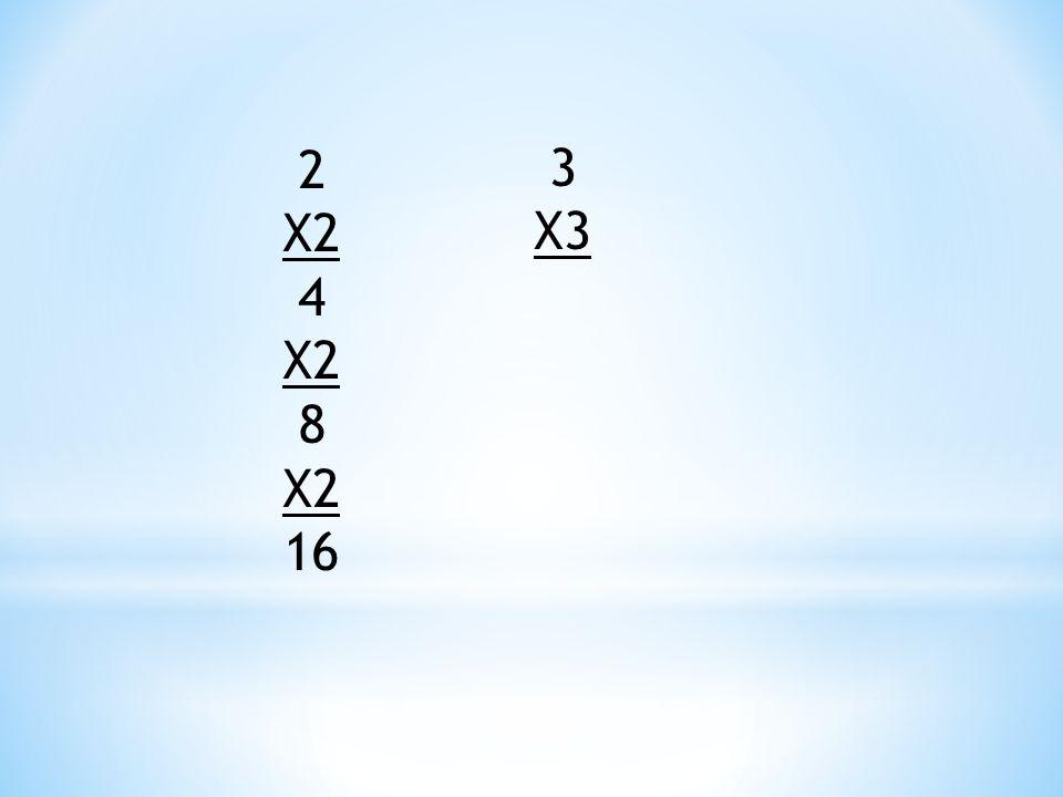 2 X2 4 8 16 3 X3