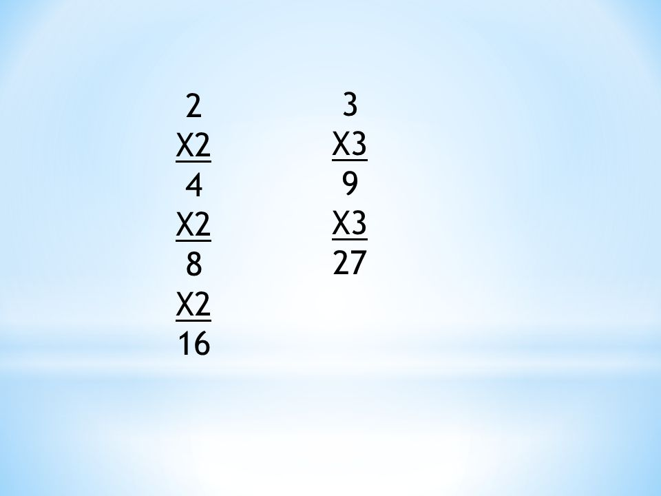 2 X2 4 8 16 3 X3 9 27