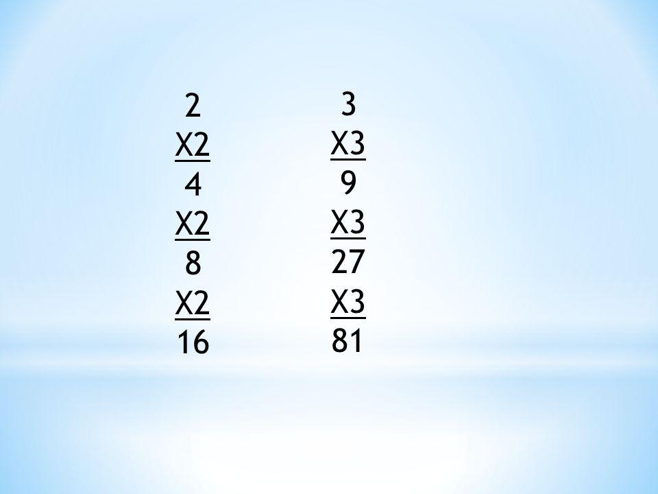 2 X2 4 8 16 3 X3 9 27 81