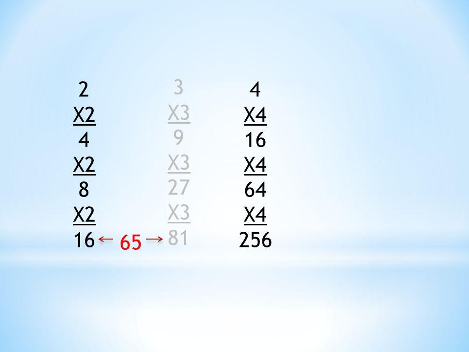2 X2 4 8 16 3 X3 9 27 81 4 X4 16 64 256 65