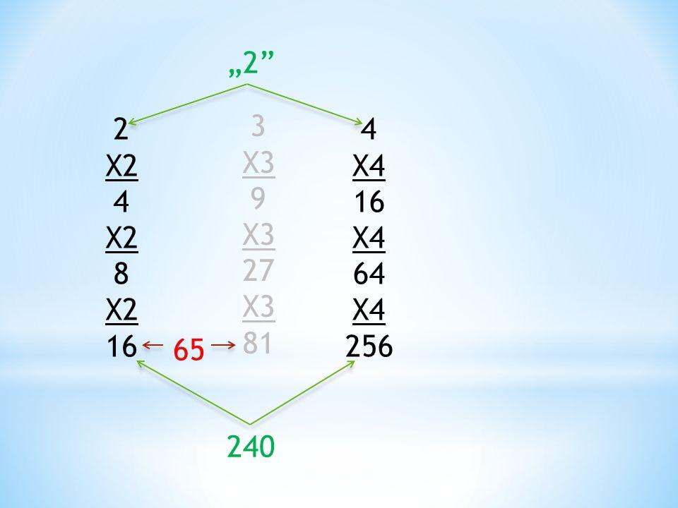 """""""2 2 X2 4 8 16 3 X3 9 27 81 4 X4 16 64 256 65 240"""